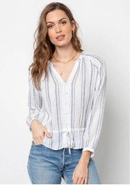 Rails Marti Linen Mix Blouse - Ryland Stripe