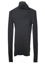 American Vintage Massachusetts Long Sleeve Cotton Polo Neck Top - Charcoal Melange