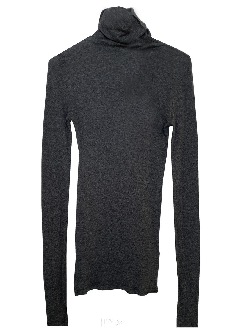 Massachusetts Long Sleeve Cotton Polo Neck Top - Charcoal Melange main image