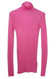 American Vintage Massachusetts Long Sleeve Cotton Polo Neck Top - Pinky
