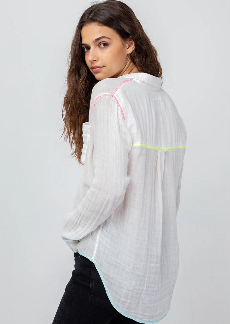 Rails Ellis Cotton Shirt - White Neon Detail main image