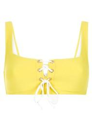 HEIDI KLEIN Cancun Lace Up Square Neck Bikini Top - Yellow