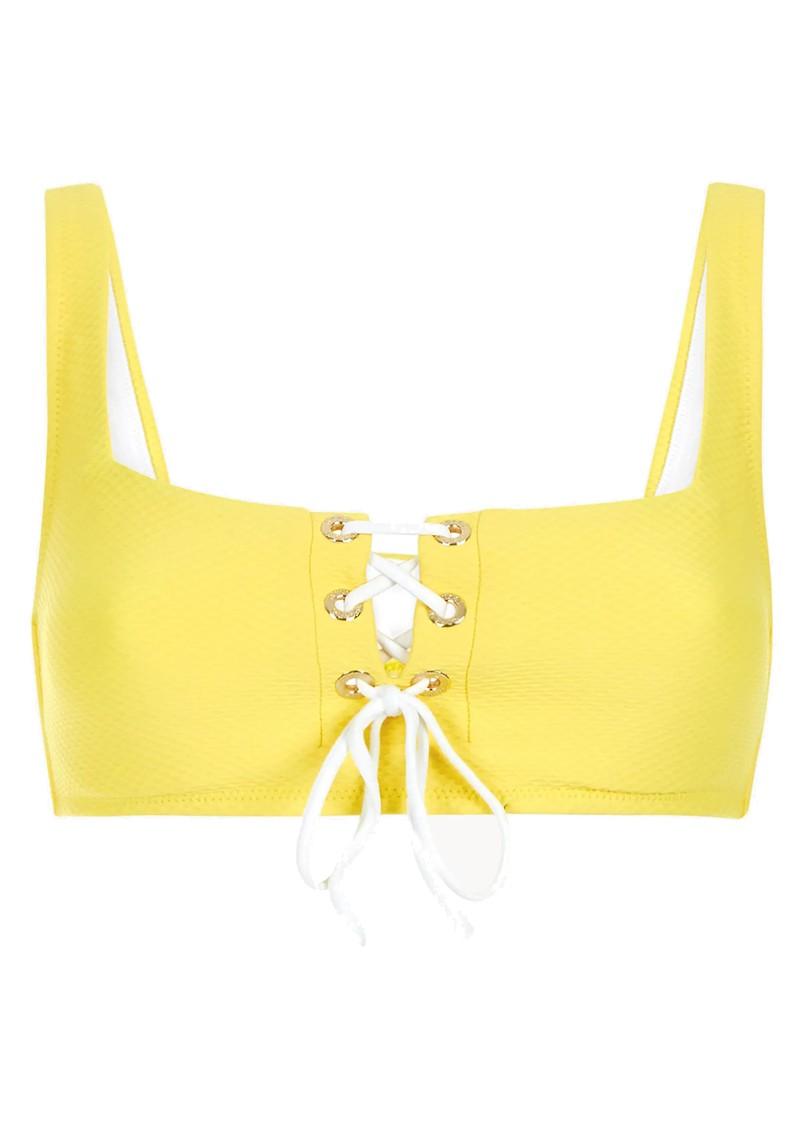 HEIDI KLEIN Cancun Lace Up Square Neck Bikini Top - Yellow main image