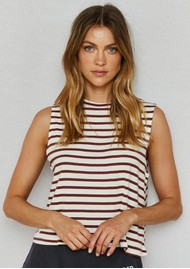DONT TELL MAMA Sailor Breezy Stripe Cotton Tank - Red