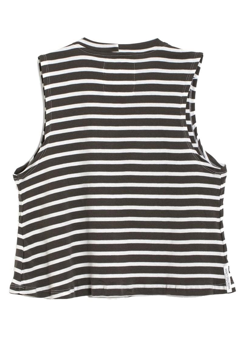 DONT TELL MAMA Sailor Breezy Stripe Cotton Tank - Khaki main image