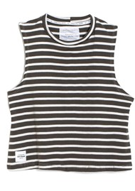 DONT TELL MAMA Sailor Breezy Stripe Cotton Tank - Khaki
