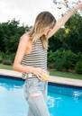 DONT TELL MAMA Sailor Breezy Stripe Cotton Tank - Khaki