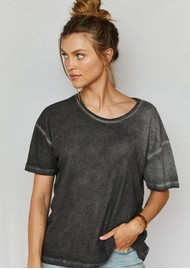 DONT TELL MAMA Heaven Waffle Cotton Tee - Slate Grey
