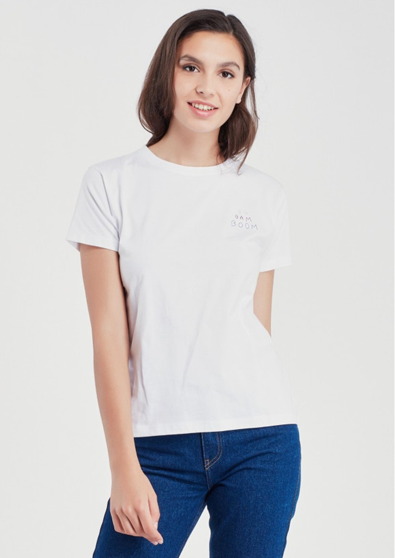 MAISON LABICHE Boyfriend Organic GOTS Cotton Bim Bam Boom Tee - White main image