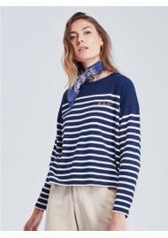 MAISON LABICHE Cool Sailor Oh La La Organic Cotton Top - Midnight Blue