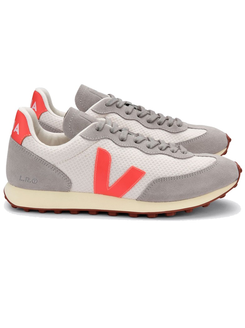 VEJA Riobranco Hexamesh Trainers - Gravel, Orange Fluro & Oxford Grey  main image