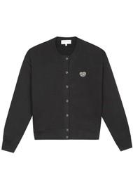 MAISON LABICHE Snaps Patch Organic Cotton Cardigan - Black