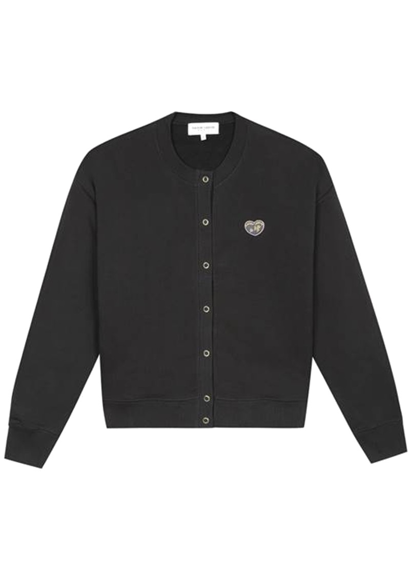 MAISON LABICHE Snaps Patch Organic Cotton Cardigan - Black main image
