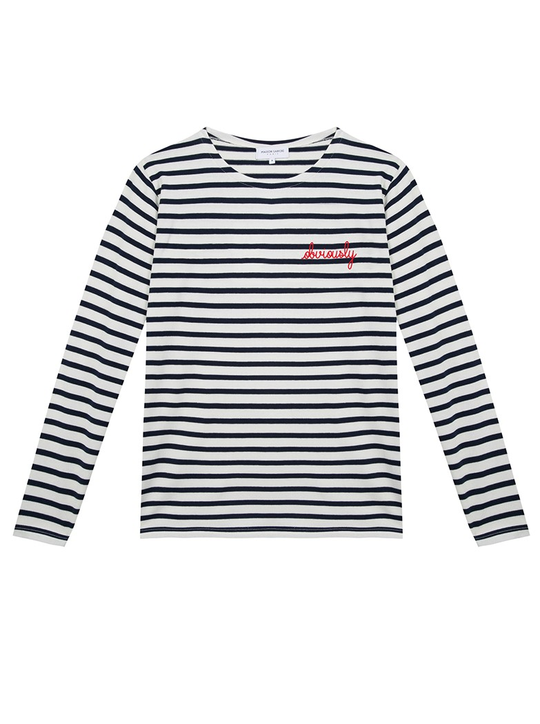 MAISON LABICHE Sailor Organic Cotton Obviously Top - Ivory Navy main image