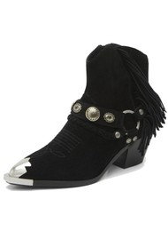 Ash Farrow Suede Western Ankle Boot - Black