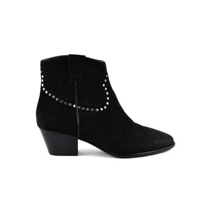 Houston Bis Studded Suede Boots - Black