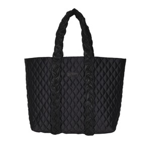Quilted Leather Shopper Bag - Black