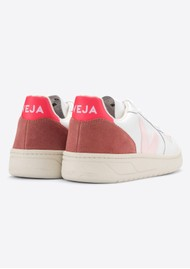 VEJA V-10 Leather Trainers - Extra White, Petal & Rose Fluo