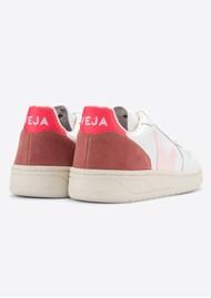 VEJA V-10 Leather Trainers - Extra White, Petal & Rose Fluo