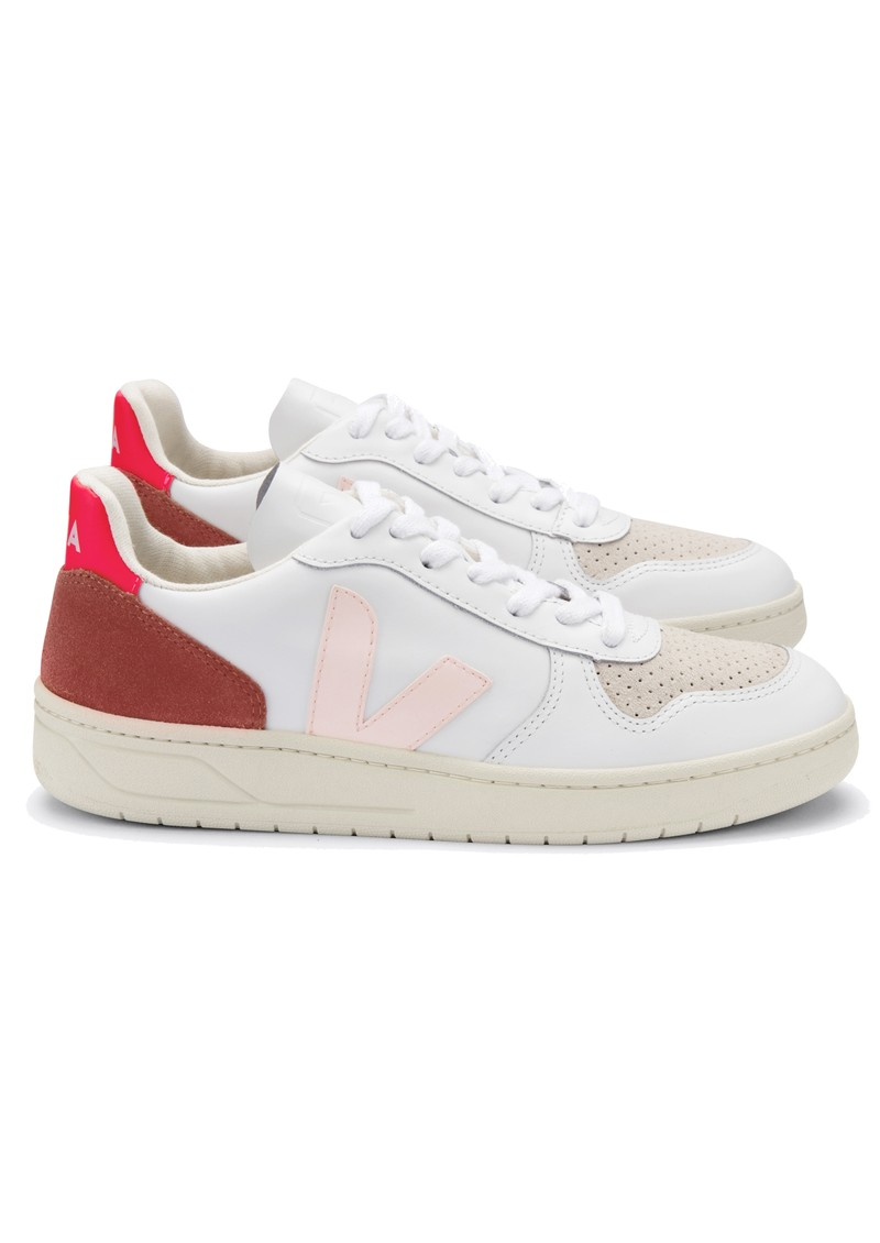 VEJA V-10 Leather Trainers - Extra White, Petal & Rose Fluo main image