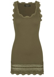 Rosemunde Wide Lace Silk Blend Tank - Military Olive