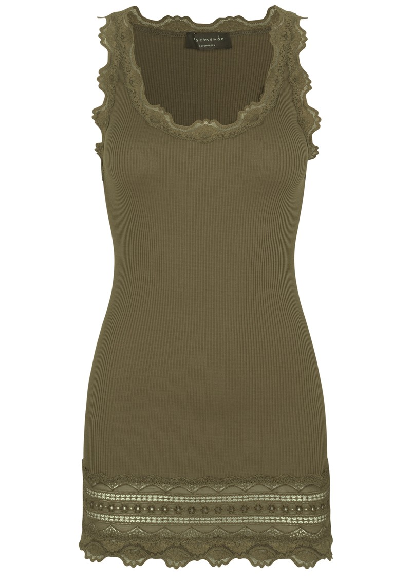 Rosemunde Wide Lace Silk Blend Tank - Military Olive main image