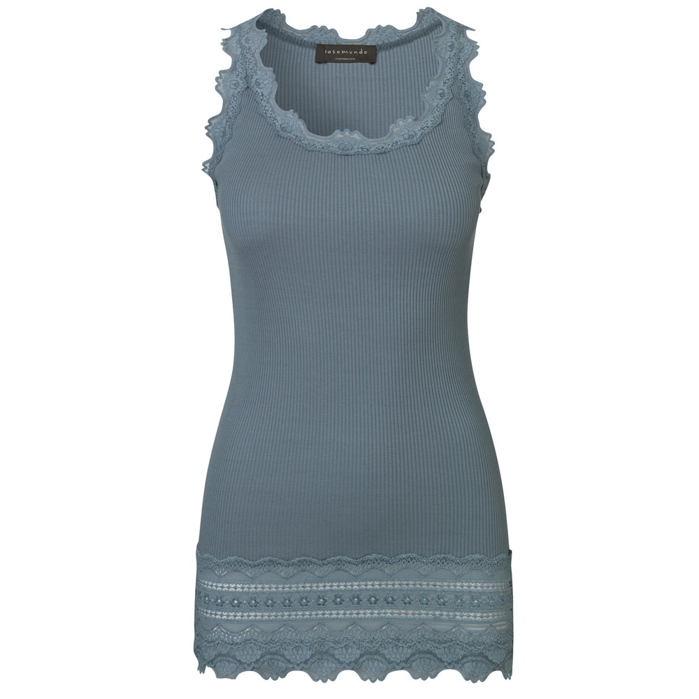 Wide Lace Silk Blend Tank - Stormy Weather