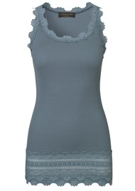 Rosemunde Wide Lace Silk Blend Tank - Stormy Weather
