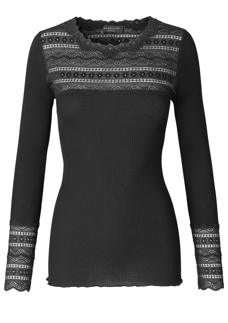 Rosemunde Long Sleeve Lace Top - Black main image
