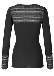 Rosemunde Long Sleeve Lace Top - Black