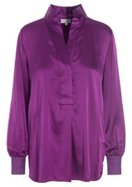 DEA KUDIBAL Kate Silk Tunic Blouse - Grape