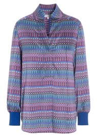 DEA KUDIBAL Kate Silk Tunic Blouse - Tapestry Blue