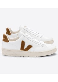 VEJA V-12 Leather Trainers - Extra White & Camel