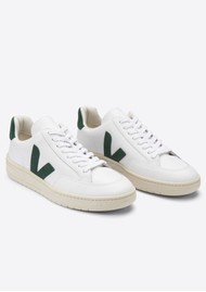 VEJA V-12 Leather Trainers - Extra White & Cypress