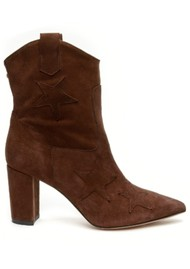 FABIENNE CHAPOT Hugo Star Suede Ankle Boots - Dark Brown