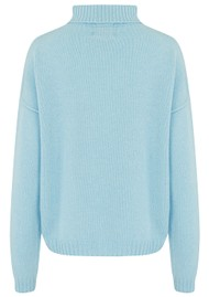 JUMPER 1234 Exposed Roll Collar Cashmere Jumper - Powder Blue