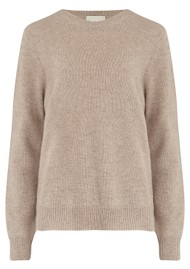 JUMPER 1234 Elbow Patch Crew Cashmere Jumper - Brown & Flamingo