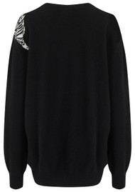 JUMPER 1234 Creeping Tiger Cashmere Jumper - Black & Cream