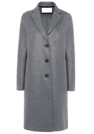 HARRIS WHARF Pressed Wool Overcoat - Grey Mouline