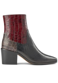 SHOE THE BEAR Georgia Croc Mix Leather Boots - Bordeaux