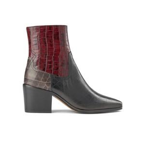 Georgia Croc Mix Leather Boots - Bordeaux