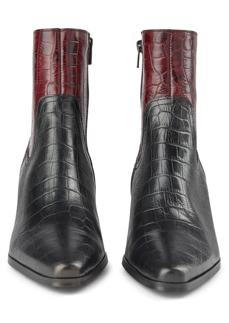 SHOE THE BEAR Georgia Croc Mix Leather Boots - Bordeaux main image