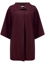 HARRIS WHARF Kimono Mantle Wool Coat - Berry