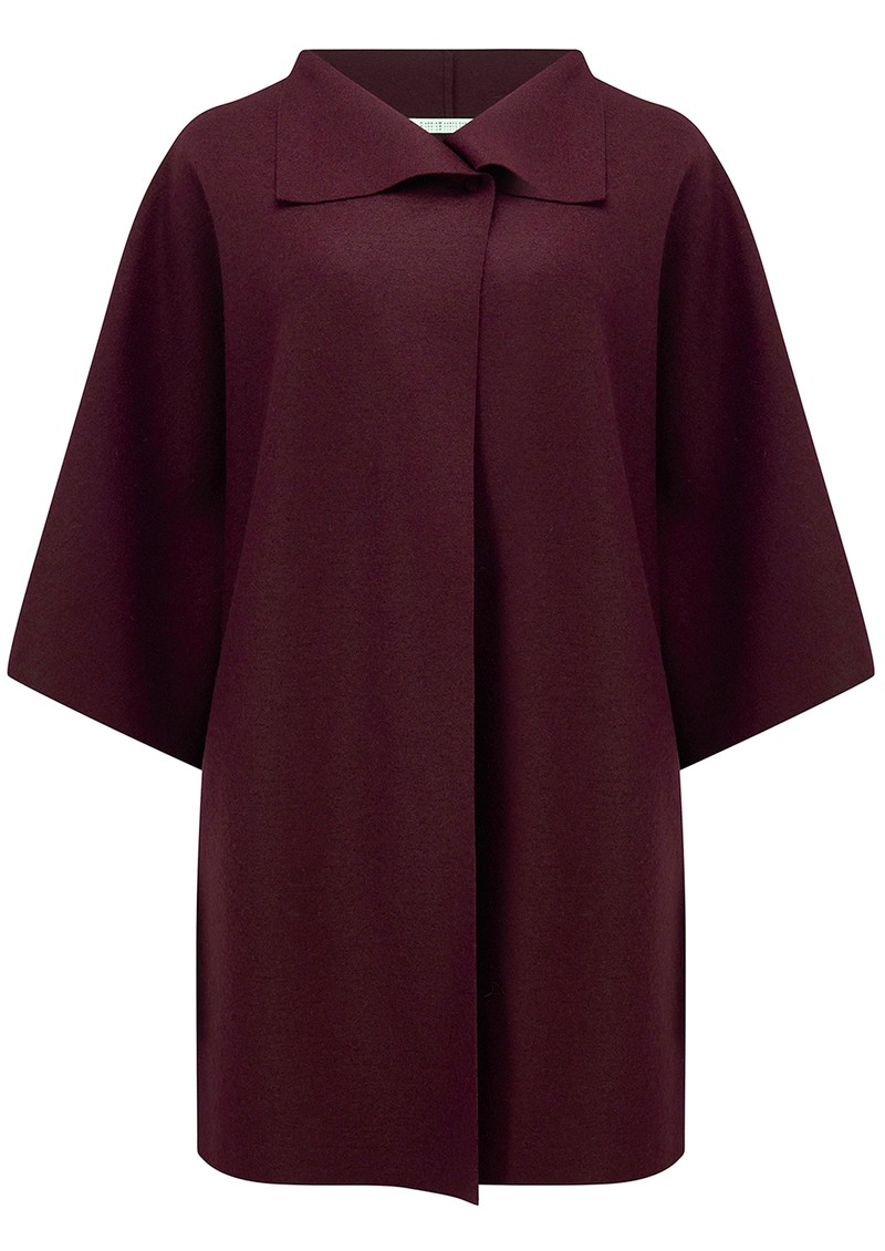 HARRIS WHARF Kimono Mantle Wool Coat - Berry main image