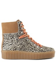 SHOE THE BEAR Agda Leopard Lace Up Boots - Off White