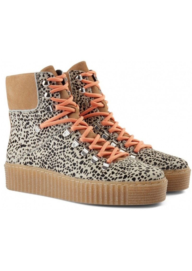 SHOE THE BEAR Agda Leopard Lace Up Boots - Off White main image