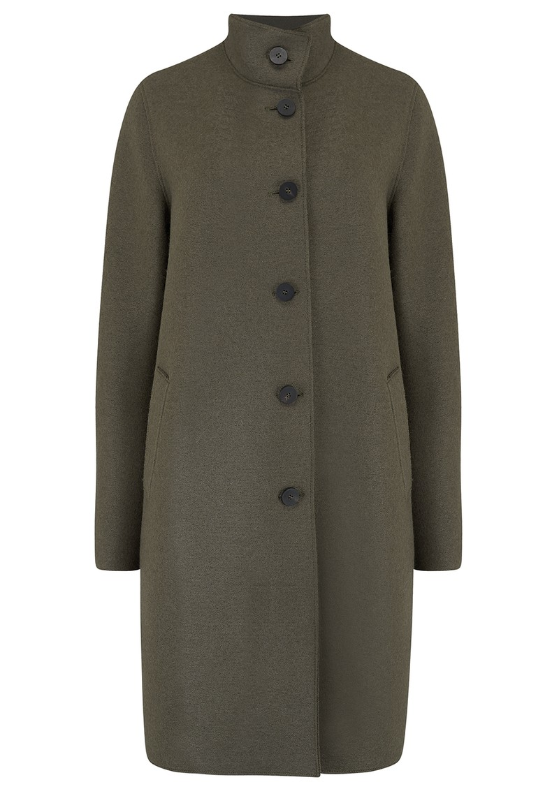 HARRIS WHARF Eggshaped Pressed Wool Coat - Hunting Green main image
