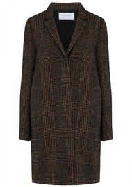 HARRIS WHARF Prince of Wales Cocoon Coat - Camel & Black