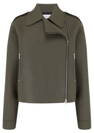 HARRIS WHARF Oversized Wool Biker Jacket - Hunting Green