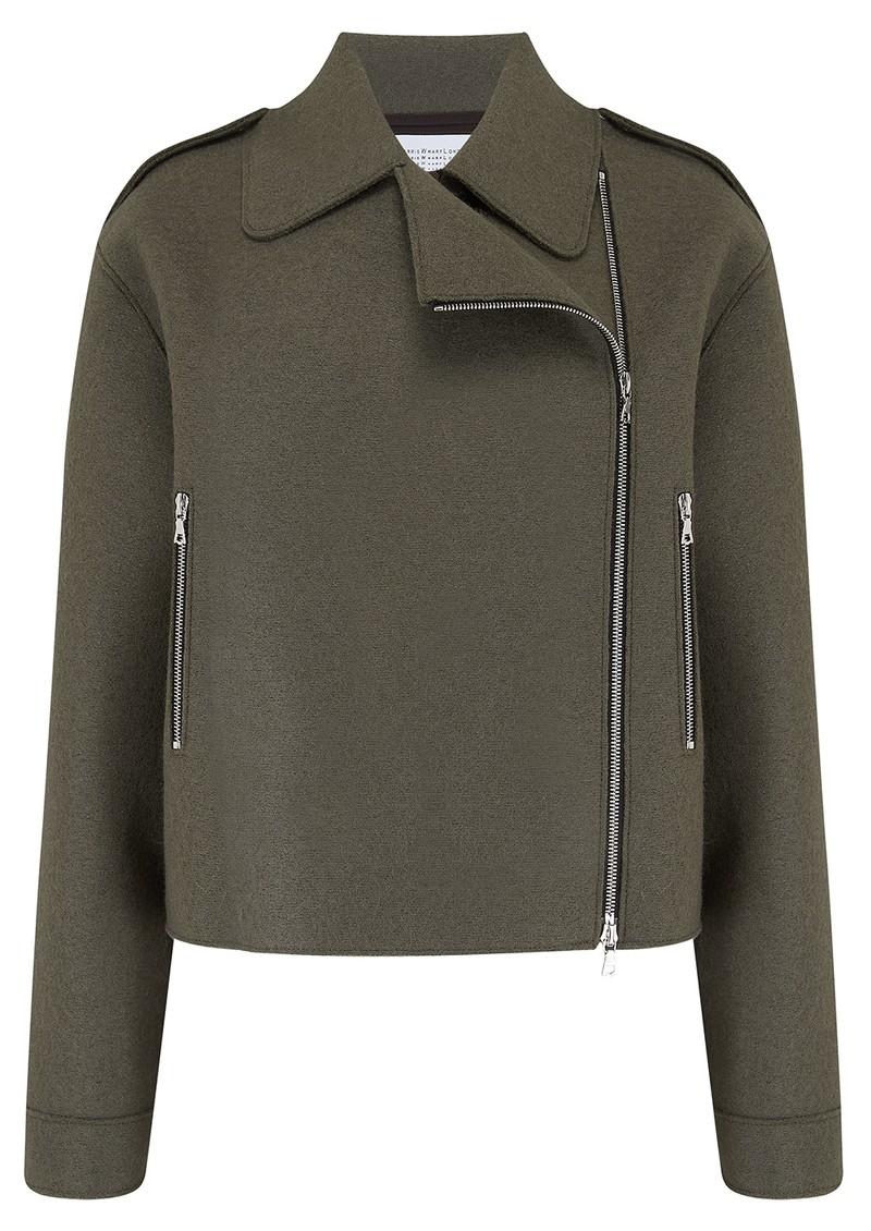 HARRIS WHARF Oversized Wool Biker Jacket - Hunting Green main image